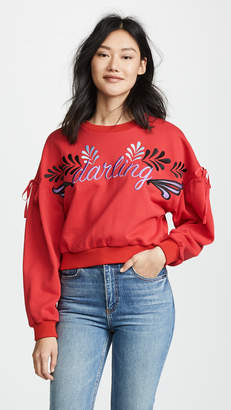 Cynthia Rowley Bedford Embroidered Tie Sleeve Sweatshirt