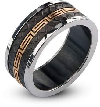 STEEL ART Steel Art Men's Stainless Steel IP Gold Narrow Greek Key in Black IP and Steel Matte and Polished Ring