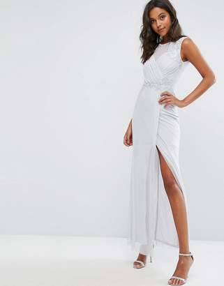 Lipsy Ruched Sequin Maxi Dress