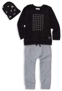 Baby Boy's Plus Print Three-Piece Sweater, Beanie & Jogger Set