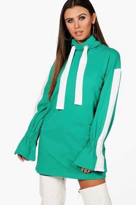 boohoo Petite Ruched Cuff Sweat Dress