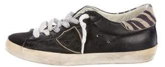 Philippe Model Distressed Low-Top Sneakers