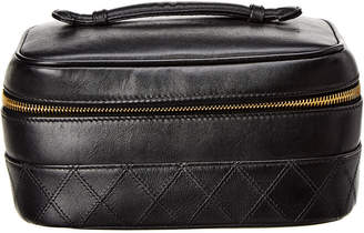 Chanel Black Lambskin Leather Horizontal Cosmetic Case