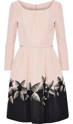 Carolina Herrera Embellished Pleated Silk-Faille Dress