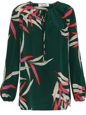 Diane von Furstenberg Bow-detailed Printed Washed-silk Blouse