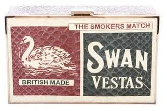 Anya Hindmarch Metallic Swan Vesta Matchbox Clutch