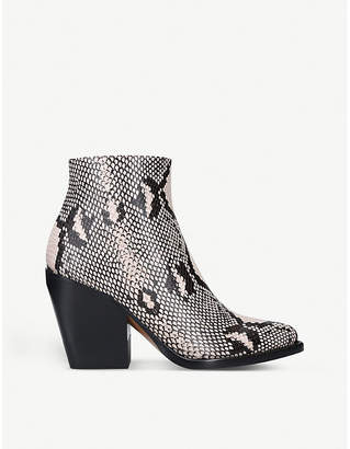 Chloé Snakeskin-embossed leather ankle boots