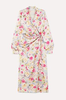 Art Dealer Michelle Gathered Floral-print Satin Wrap Dress
