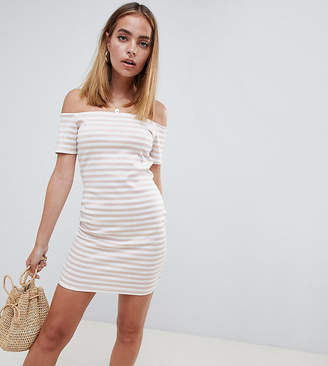 Missguided Petite Stripe Bardot Bodycon Dress