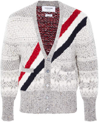 Thom Browne Striped Fair Isle Wool And Mohair-Blend Cardigan
