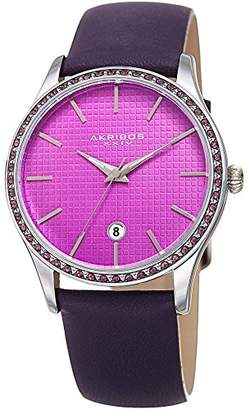 Akribos XXIV Women's Quartz Stainless Steel and Leather Casual Watch