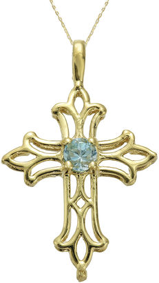 FINE JEWELRY Genuine Blue Topaz 10K Yellow Gold Cross Pendant Necklace $208.32 thestylecure.com