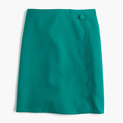 J.CrewPetite scalloped skirt in wool-cotton gabardine