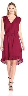 Velvet by Graham & Spencer Women's Damask Ruffle Hem Dress