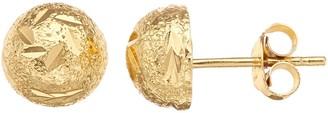 Primavera 24k Gold Over Sterling Silver Diamond Cut Stud Earrings