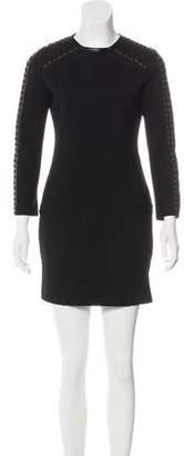 Pierre Balmain Leather-Trimmed Mini Dress