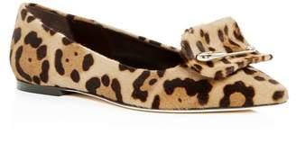 Brian Atwood Women's Amaia Leopard Print Calf Hair Pointed-Toe Flats