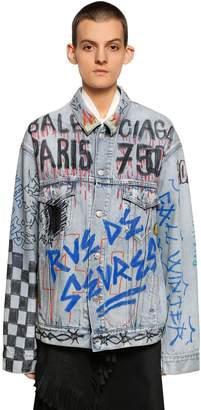 Balenciaga Over Hand-Drawn Graffiti Denim Jacket