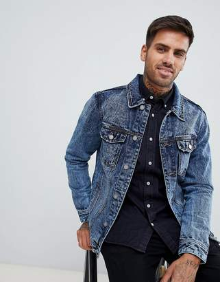Pull&Bear Denim Jacket In Mid Blue