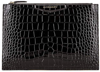 43744c9a88 Givenchy Medium Crocodile Embossed Antigona Pouch in Black | FWRD