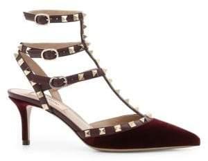 Valentino Rockstud Velvet Sling Sandals