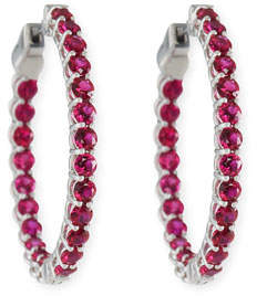 American Jewelery Designs Small Ruby Hoop Earrings in 18K White Gold