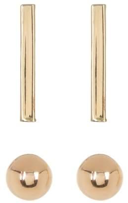 Candela 14K Yellow Gold 2-Piece Ball & Bar Earring Set