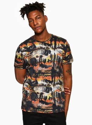 TopmanTopman Red Abstract Printed T-Shirt