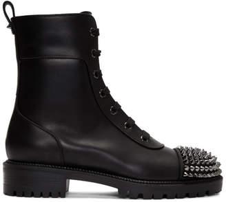 Christian Louboutin Black Flat Calf Combat Boots