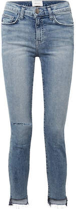 Current/Elliott The High Waist Stiletto Distressed Skinny Jeans - Mid denim