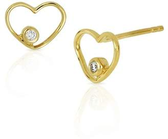 Bony Levy 18K Yellow Gold Bezel Set Diamond Open Heart Stud Earrings