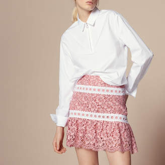 Sandro Lace skirt finished with braid trim