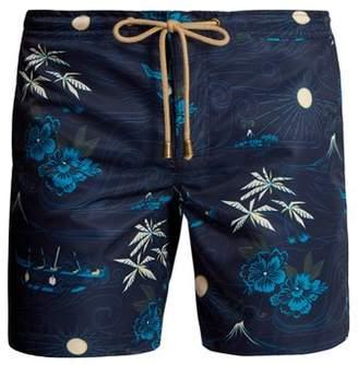 Thorsun - Titan Fit Polynesian Print Swim Shorts - Mens - Blue