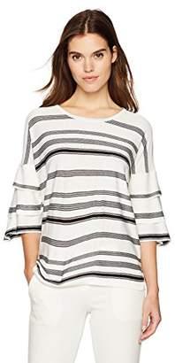 Calvin Klein Women's Stripe Short Sleeve Ruffle Crewneck