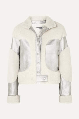 Courreges Metallic Leather And Shearling Jacket - Silver
