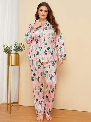 Shein Plus Cactus Print Button Front Pajama Set