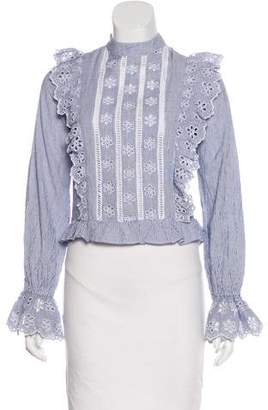 Tularosa Stripped Eyelet & Ruffle Cotton Blouse