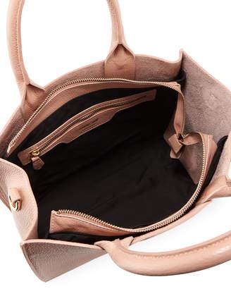 Roberto Cavalli Zip-Top Leather Tote Bag, Nude