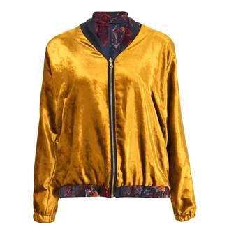Klements - Penny Bomber Reversible in Gold Velvet & Gothic Floral Print