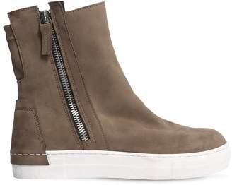 Zip-Up Nubuck High Top Sneakers
