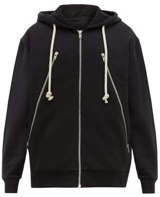 Maison Margiela Hooded Zip Through Cotton Sweatshirt - Mens - Black