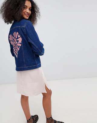 Monki embroidered denim jacket