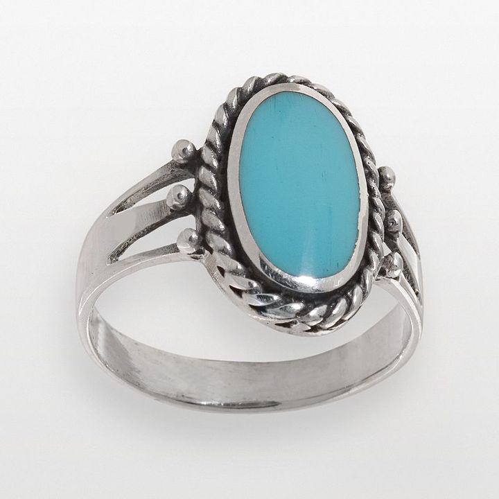Sterling silver simulated turquoise inlay ring