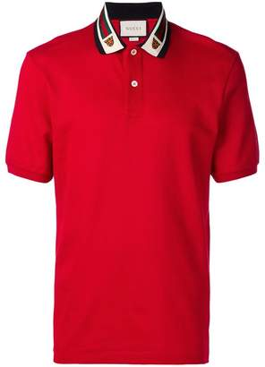 Gucci Web and feline head polo shirt