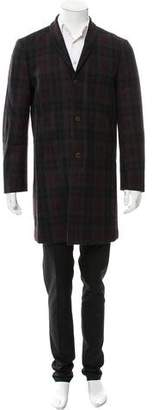 John Varvatos Plaid Virgin Wool Coat w/ Tags