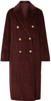 Brunello Cucinelli Double-breasted Cotton-corduroy Coat - Plum