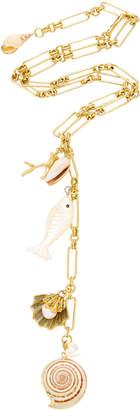 Brinker & Eliza Shell Beach 24K Antique Gold Charm Y-Necklace