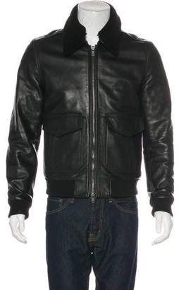 BLK DNM Shearling-Trimmed Leather Jacket
