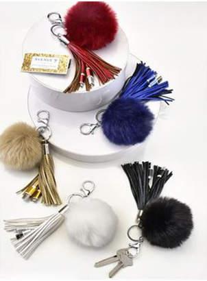 Gift Craft FAUX-FUR POM-POM & TASSEL PURSE ACCESSORY W/ USB CHARGER