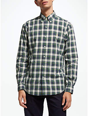 Ralph Lauren Polo Long Sleeve Check Shirt, Green/Yellow